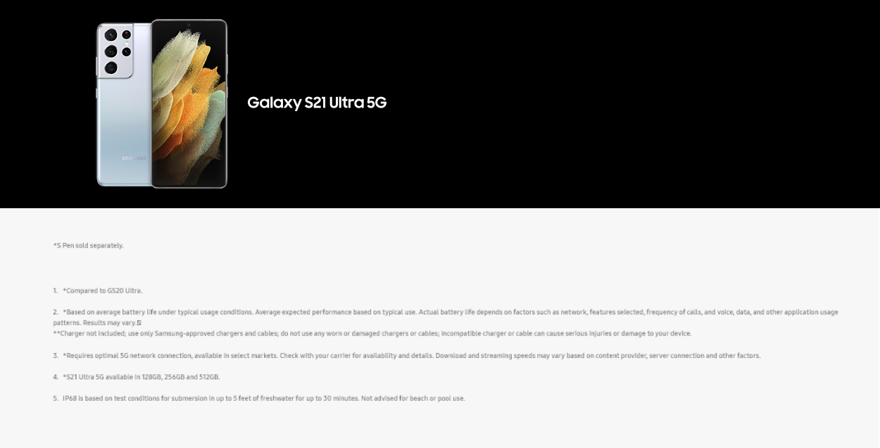 Galaxy S21 Ultra Footer